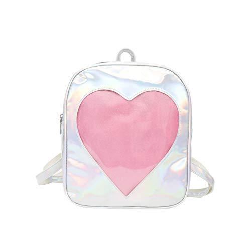 TENDYCOCO ita Tasche Rucksack mit klaren Fenster Liebe Herz Schulranzen Hologramm Daypack Mädchen