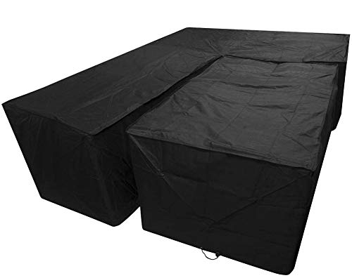 2PCS Housse canapé d'angle en forme de V pour meubles jardin Extérieur, Housse Protection Canapé d'angle en Tissu Oxford 420D, Imperméable Anti-UV Anti-poussière, Noir,300*300*98cm+155*95*68