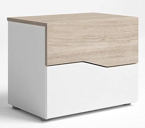Miroytengo Mesita Noche Asym 2 cajones Color Blanco y Sable Estilo Moderno Dormitorio 54x43x35 cm