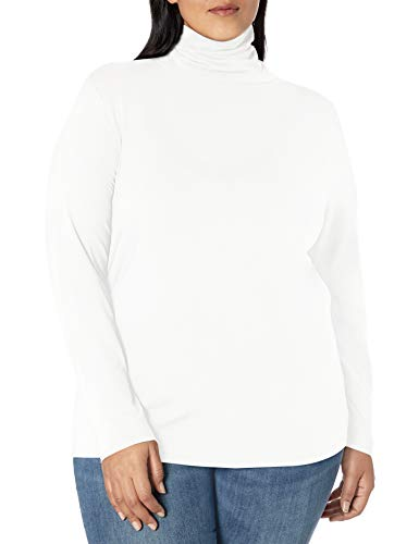 Amazon Essentials Plus Size Long-Sleeve Turtleneck Fashion-t-Shirts, Blanco, 1X