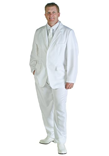 Men's Low Cost White Suit Costume, XS to XL