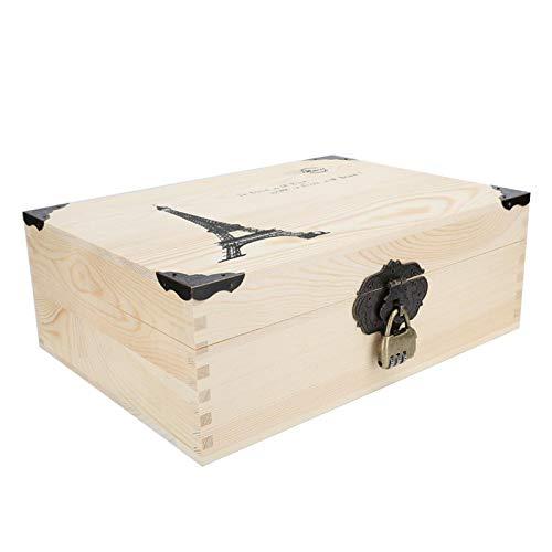 Caja de almacenamiento de joyería de madera, caja de reloj de madera para hombres y mujeres, caja de almacenamiento de herramientas de maquillaje de joyería de archivo de escritorio vintage con cerrad