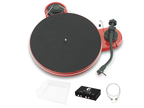 Pro-Ject RPM 1.3 Genie Superpack, Audiophiles Einsteigerset mit Plattenspieler, Phonovorstufe, Abdeckhaube und Kabel, Rot