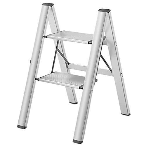 Escaleras plegables Ligero Escaleras de mano con Plataforma ancha, Plegable Escalera pequeña Taburete por Cabecera Cocina Despensa, Carga 150 KG / 300 LB (Color : White, Size : 2 Step)