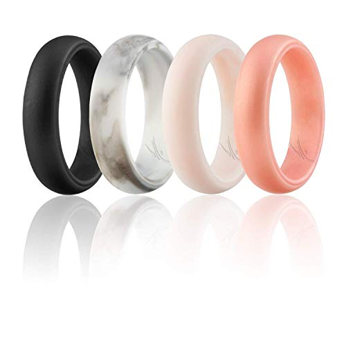 ROQ Silicone Wedding Ring for Women, Set of 4 Silicone Rubber Wedding Bands -...
