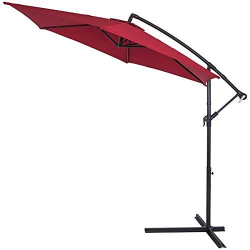 Deuba® Alu Ampelschirm Ø 300cm rot mit Kurbelvorrichtung Aluminium Wasserabweisende Bespannung - Sonnenschirm Schirm Gartenschirm Marktschirm