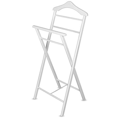 Staboos Herrendiener Stummer Diener Kleiderständer Alfred, Garderoben Ablage aus Holz Herren Damen Diener in 3 Farben, Holzfarbe: Weiß