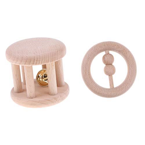 B Baosity 2pcs Hochet Bébé en Bois éducatif Saisissant Jouet de Poussette Montessori Handbell
