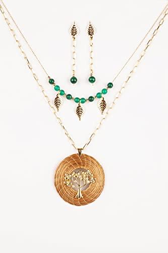 Collar Dorado y Verde con Mandala Oro Vegetal Árbol de la Vida con Zirconitas, Malaquita y Cuarzo, Gargantilla y Pendientes