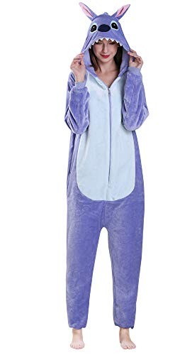 Yimidear® Unisexe Hot Adulte Pyjamas Cosplay Costume d'animal Onesie de Nuit de Nuit,L,Blue Stitch