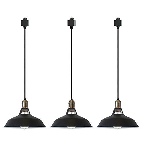 STGLIGHTING Iron H-Type Track Pendant Lighting 47.2in Cord Customizable Black Lampshade Dimmable Track Mount Pendant Lights for Industrial Style E26 Instant On Halo Track Light
