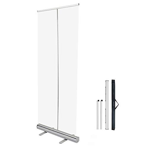 YCMY Transparent Roll Up Banner, Floor Standing Sneeze Guard Clear Partition Screen, Social Distancing Screen with Plastic Steel Stand, PVC Clear Film 60 X 160cm(24 X 63in)
