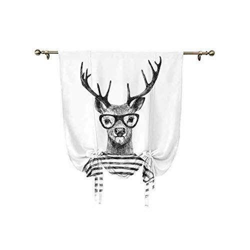 Paneles de sombra de ciervos, estilo hipster humano con gafas despojadas para camisa y ventana, 45 x 63 pulgadas, para ventana pequeña, bolsillo para barra, gris carbón, blanco