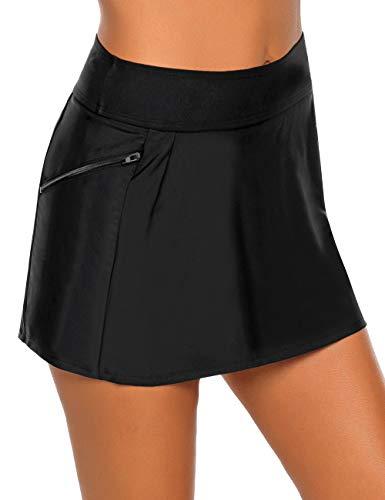 Vetinee Women's Zip Pocket High Waist Bikini Tankini Bottom Swim Skirt Swimsuit Black Size X-Large (Fits US 16-18)