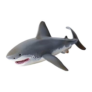 Newmind Realistic 1pc Plastic Sea Life Animal Model Great White Shark Figurine Educational Toys for Preschool Children