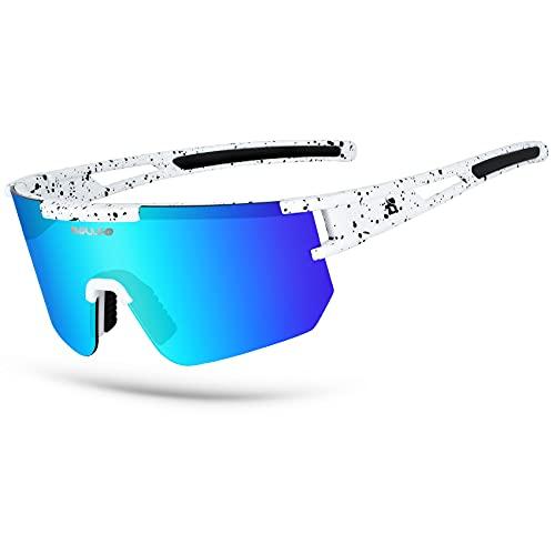 BOLLFO Cycling Sunglasses, UV 400 Eye Protection Windproof Polarized Eyewear for Men Women Cycling, Baseball,Fishing, Ski Running,Golf (Light Blue Lens)