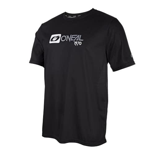 O'NEAL | Mountainbike-Shirt | MTB Mountainbike DH Downhill FR Freeride | Atmungsaktives Material, Schnell trocknend, antibakteriell | Slickrock Jersey | Erwachsene | Schwarz Grau | Größe M