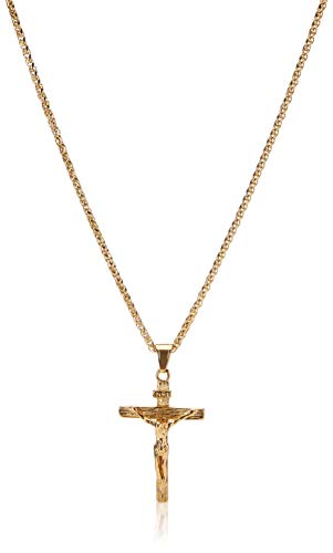 Jesus Crucifix Cross Pendant Necklace Stainless Steel/18K Gold Cross Necklace for Men