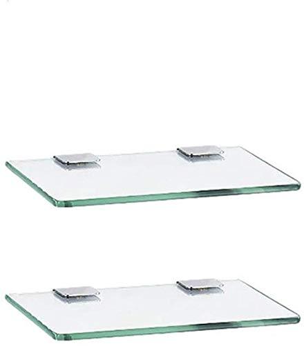 Glasplaat voor badkamer, doucheplank met rechthoekig glas (dikte 7 mm), wandplank voor badkamer van glas (kleur: 1 laag, grootte: 50 cm 19,6 inch) 60cm/23.6''-2-layer