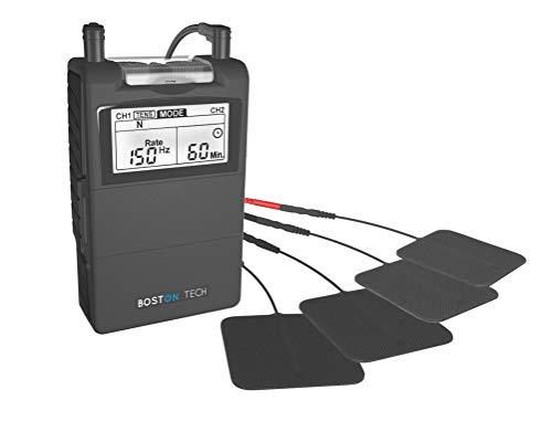 Boston Tech ME-89 Plus - Electroestimulador Muscular Digital TENS - EMS Digital de Dos Canales, 24 programas Pre-establecidos Ajustables y 8 Electrodos. Ideal para Tratamiento Muscular
