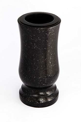 Afterglow Stilvolle Grabvase aus echtem Granit Schwedisch Black Höhe 20 cm/Ø 10 cm Grabschmuck wetterfest frostsicher Granitvase mit Kunststoffeinsatz Friedhofsvase