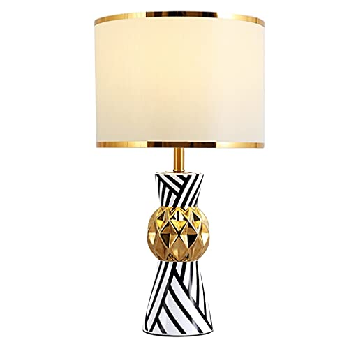 Lámpara de mesa Moderna cerámica de la mesita de noche Lámpara de mesa de cebra Raya de la cama Lámpara de mesas de cama Sala de estar Dormitorio Sala de estudio Lámpara de noche Creative Home Lamps L