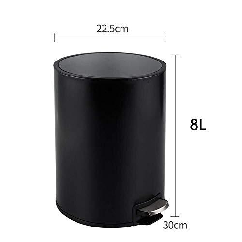 Cubo de Basura, residuos de baño 8/12 litros, contenedor de Basura con Tapa, contenedor de Pedales con Huellas Dactilares de Acero Inoxidable con Recipiente Interior extraíble