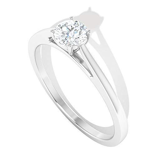 Anillo de vástago partido certificado IGI de 0,5 quilates, clásico de novia, anillo de boda, claridad de color IJ-SI, anillo solitario de mujer, declaración, 14K Oro blanco, Size:EU 59
