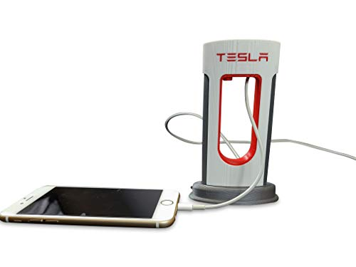 Tesla Desktop Supercharger Replica Charging Station, Tesla Supercharger Station - Fits USB-C and Lightning Cables for Android and iPhone - Unique Home Décor - USB Lightning Charging Cable 3D Printed