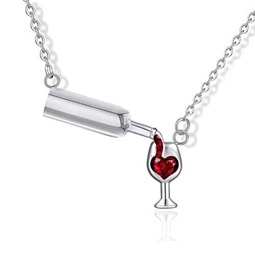 Woorea Collar con Colgante,Diseño Creativo Collar de Botella de Vino Personalidad Amor Cristal Vino Tinto Botella Copa Cadena sobre Clavícula para Mujer Collar