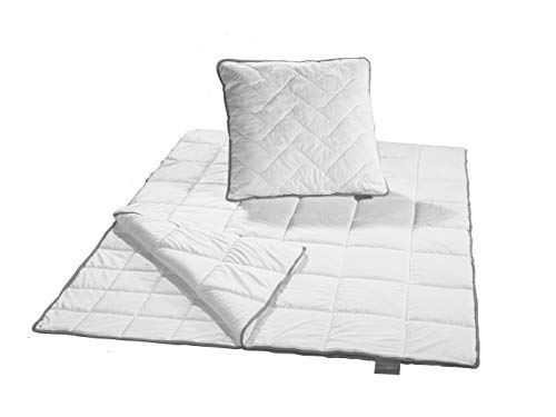 Traumnacht TopCool Bettenset, 4-Jahreszeiten, 1x teilbare Bettdecke 135 x 200 cm und 1x Kopfkissen 80 x 80 cm, weiß