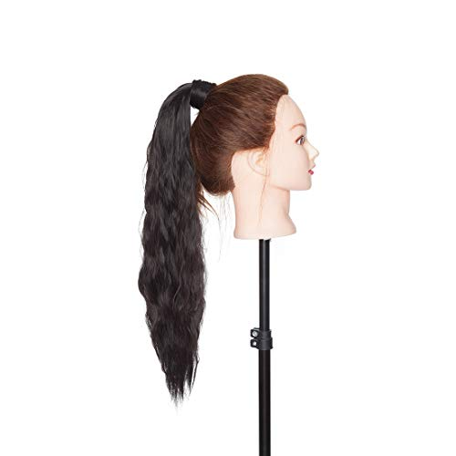 Long Corn Wave Wrap Around Ponytail Extension with Hair Pocket Kinky Wavy Curly Pony Tails Hair Extensions Magic Paste Yaki High Ponytail For Girl Lady Women 20 Inch Natural Black