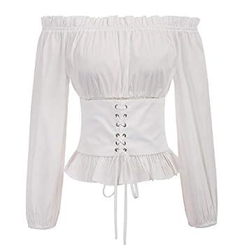 SCARLET DARKNESS Womens Renaissance Long Sleeve Shirt Off Shoulder Boho Blouse Top  White 2XL