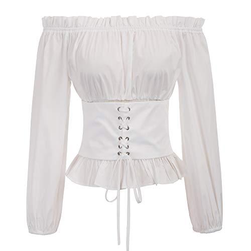 Womens Renaissance Peasant Blouse Ruffle Pirate Boho Tops T Shirts M White