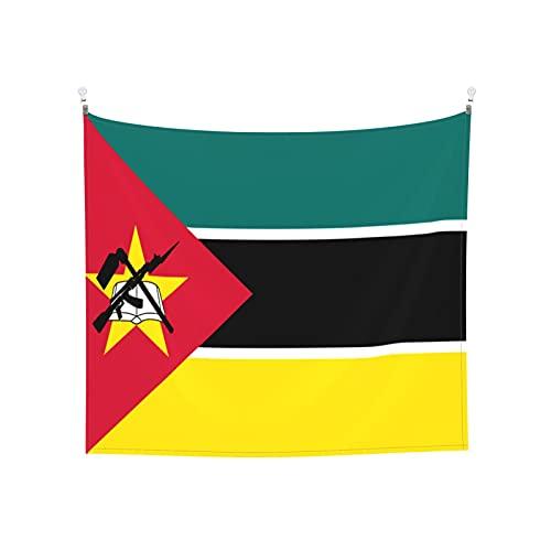 Wandteppich, Motiv: Flagge von Mosambik, Wandbehang, Boho, beliebt, mystisch, Trippy, Yoga, Hippie, Wandteppiche für Wohnzimmer, Schlafzimmer, Schlafsaal, Heimdekoration, Schwarz & Weiß