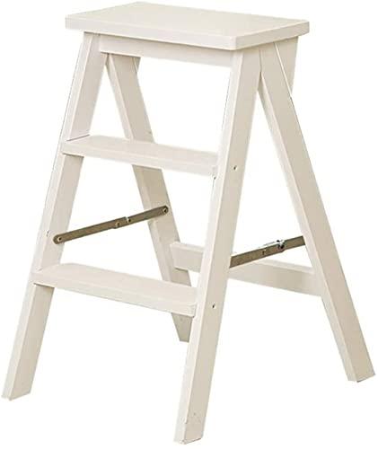 Sgabello da pediera, 3 Tread Pieghevole Piegato / Sgabello da poltrona da scaletta, sedia per scale in legno Stepladder allargato Sgabello alto Sgabello Home Garden Tool Heavy Duty max.150 kg in bianc