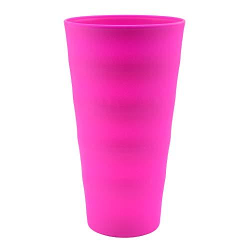 YBM Home Bruchfeste Kunststoffbecher 590 ml, mittlere Trinkbecher für Kinder und Erwachsene, wiederverwendbares Design, Rosa