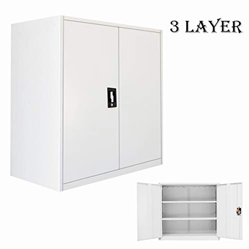 Panana Office Storage cupboard filing Document cabinet metal shelves 2-door and lock system (3 Tier)