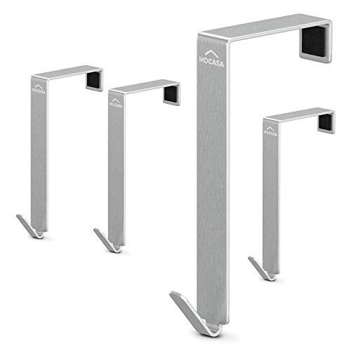 MDCASA Türhaken 4,5cm - für breite Türen - Edelstahl gebürstet - 4 Stück - Kleiderhaken Tür - Handtuchhalter zum Einhängen - Türkleiderhaken – Badezimmerhaken