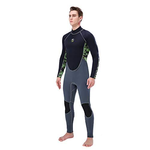 AIni Herren Neoprenanzug Wetsuit Surfen ,Wetsuit Schwimmen Surfanzug Surfen Tauchen Sport Badeanzug 3MM Ganzkörperanzug Super-Stretch-Tauchanzug Schwimmen Surfen Schnorcheln(S,Armeegrün)