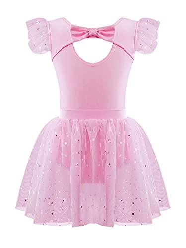 Alvivi Vestido de Danza Ballet para Niña Vestido Tutú Princesa de Patinaje Artistico Ropa de Danza Body Elástico y Falda Ciorta de Danza Clásica Rosa 6 años