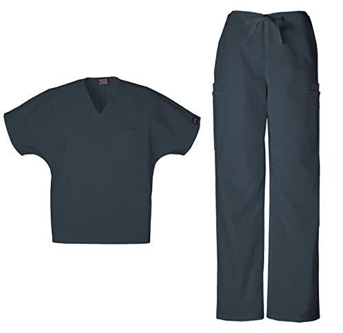 Cherokee Workwear Men's Dental/Medical Uniform Scrub Set - 4777 V-Neck Scrub Top & 4000 Drawstring Cargo Pants (Pewter - Medium/Medium)