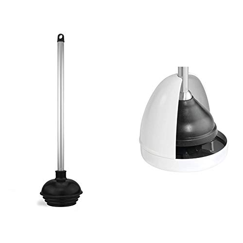 Neiko 60166A Toilet Plunger with Patented All-Angle Design | Heavy Duty | Aluminum Handle & iDesign UNA Plastic Toilet Plunger Holder Plunger Stand Cover for Bathroom Storage, Cleaning, White