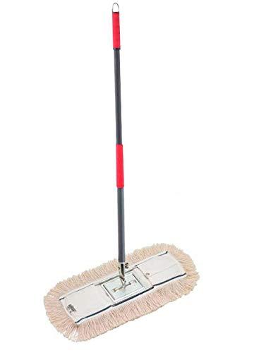Mopa industrial plana en 100% algodón 15x60 cm con bastidor metálico y mango ergonómico ERGO PRO incluidos. Es una mopa ideal para la limpieza de suelos profesional en cualquier tipo de superficie