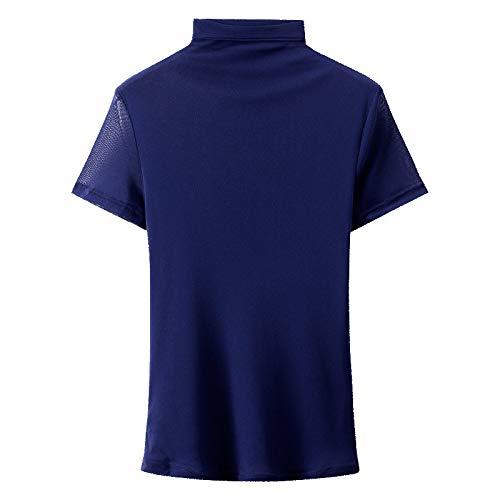 HOSD Camisa de Malla con Cuello Alto Mujer