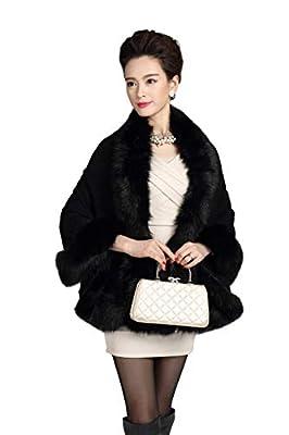 Elfjoy Luxury Bridal Faux Fur Cashmere Wool Shawl Cloak Cape Wedding Dress Party Coat for Winter