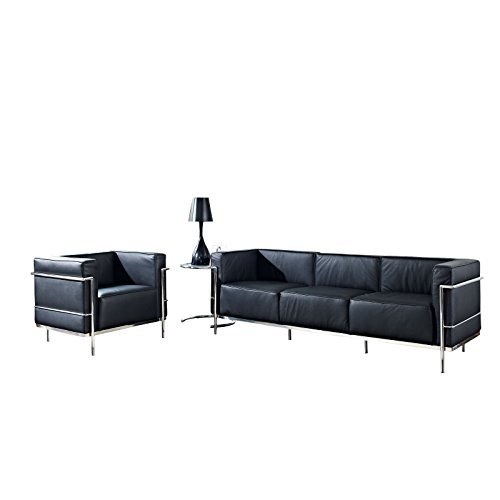 Modway Leather Le Corbusier-Style LC3 Armchair and Sofa in Black with Eileen Gray Side Table