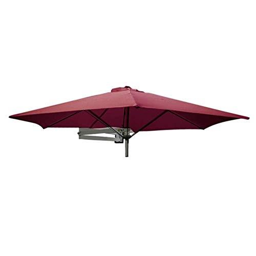 DFBGL Sombrilla para Patio montada en la Pared con Poste de Metal - Sombrilla inclinable para jardín al Aire Libre, Patio, balcón, 8 pies / 250 cm (Color: Rojo Vino)