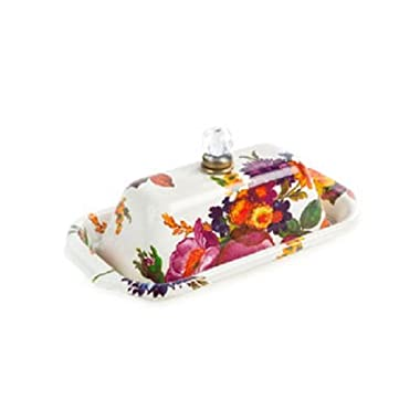 Butter Dish with Lid Stainless Steel Enamel Flower Market Container – Multicolor Box – Rectangular - 5  Wide, 9  Long, 4  Tall by MacKenzie-Childs