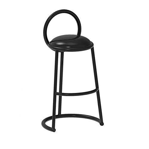 QIDI-Decorazione Domestische barkruk met rugleuning, metalen frame met hoge dichtheid, tafel en kruk met rugleuning voor koffiekoker 48 × 48 × 90/50 cm